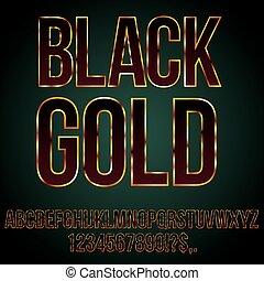 Black Gold Font - typeset for golden stylized lettering