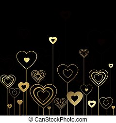Black gold hearts