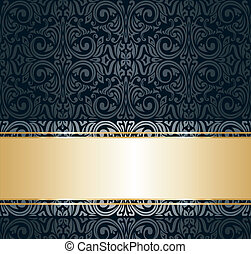 black & gold vintage wallpaper