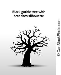 Black gothic tree with branches silhouette