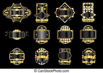 &, black , goud, etiket