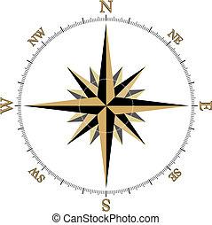 black , goud, kompas