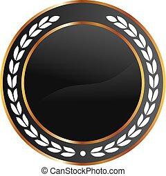 black , goud, medaille