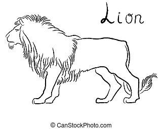 Black graceful Lion contour