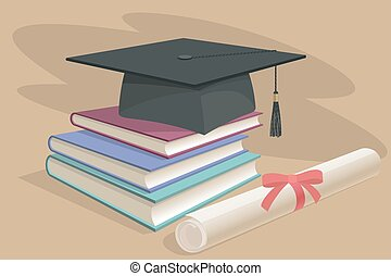 Black graduation cap, mortarboard and diploma scroll, made with gradient mesh