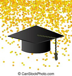 Black Graduation Cap on Confetti Background