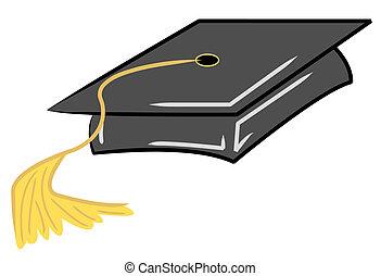 black graduation cap with gold tassel