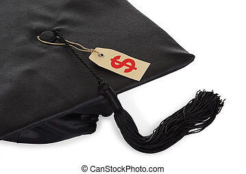 Black Graduation Cap With Tassel And Price Tag