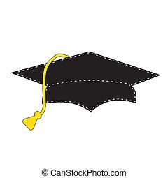 Black graduation cap with white stitching, scrapbooking...