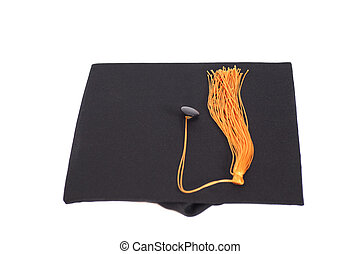 Black Graduation Hat with Gold Tassel isolated on white...