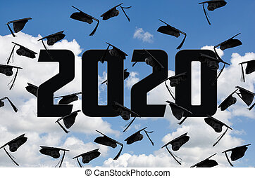 black graduation hats in sky for 2020
