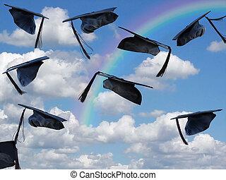 black graduation hats with rainbow