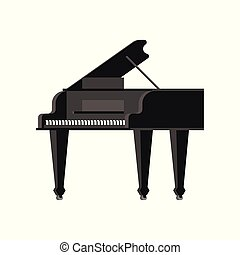 Black grand piano isolated. Musical instrument Vector...