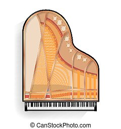 Black Grand Piano Opened Icon Vector With Shadow. Realistic Keyboard. Isolated Illustration.