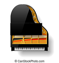 Black grand piano with open top