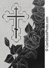 black granite gravestone with engraving picture, roses ornament and christian cross