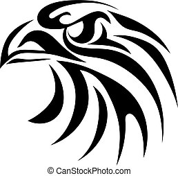 Black graphic image of an eagle head on a white background....