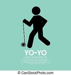 Black Graphic Symbol Yoyo Player Vector Illustration
