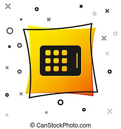 Black Graphic tablet icon isolated on white background. Yellow square button. Vector