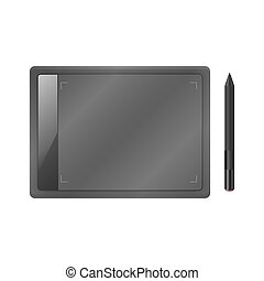 Black graphic tablet with pen.