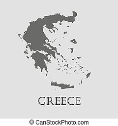 Black Greece map - vector illustration