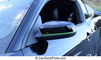 BLACK, GREEN Ford Mustang Car look trough Window Close Up, Daylight, Forest Street HD