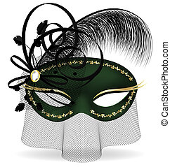 black-green half-mask - on a white background is a black-...