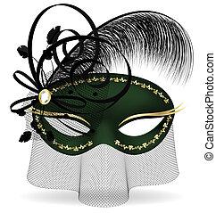 black-green, half-mask