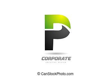 black green logo letter P alphabet design icon for business