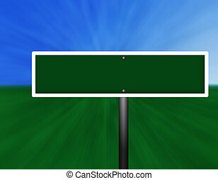 Black Green Street Sign - A blank green and white street...