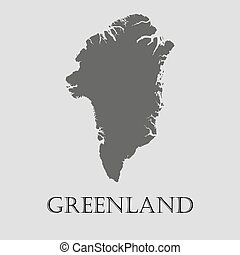 Black Greenland map - vector illustration
