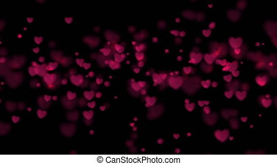 Black greeting motion background with purple shiny glowing hearts