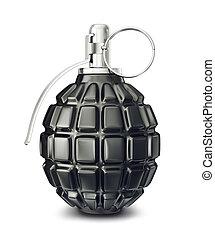 grenade - black grenade isolated on a white. 3d illustration