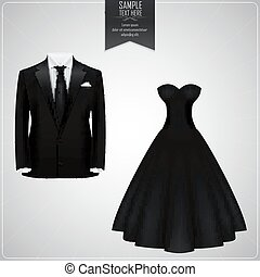 Black groom suit and black bridal gown