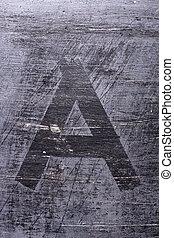 Black grunge alphabet. Letter A