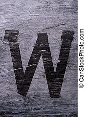 Black grunge alphabet. Letter W