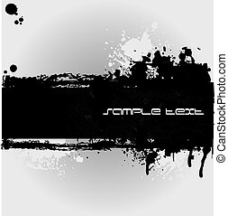 Black Grunge banner with an inky stain