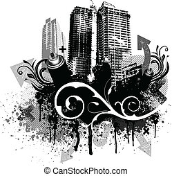 Black city buildings and graffiti grunge floral arrow design