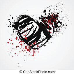 Black grunge broken heart with thorns and red blood splatters