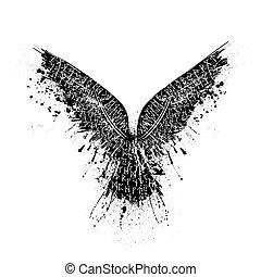 Black grunge runic raven