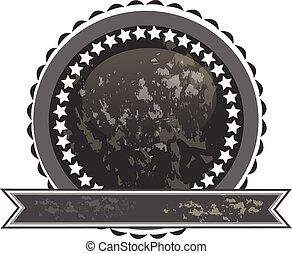 Black grunge seal with ribbon logo