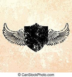 Black grunge shield emblem with paint splatter background