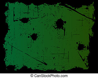 Black Grunged Border with Green Background