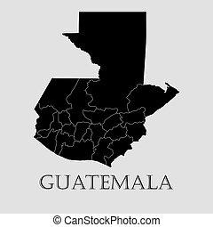 Black Guatemala map - vector illustration
