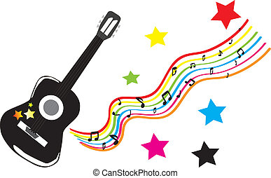 Black guitar and stars