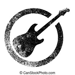 Black Guitar Ink Stamp