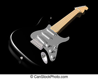 Black guitar on shiny surface - Illustration of a black ...