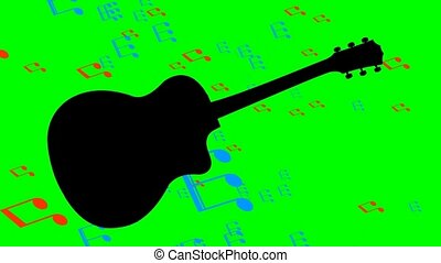 Black guitar silhouette and flying colored musical notes in...