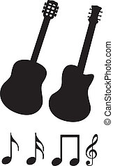 guitar silhouette - black guitar silhouette and music notes...