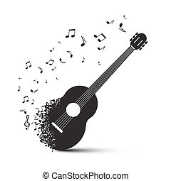 Black Guitar with Notes Isolated on White Background